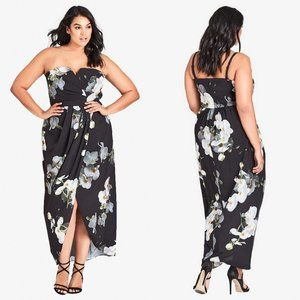 City Chic Strapless Orchid Dreams Black Maxi Dress